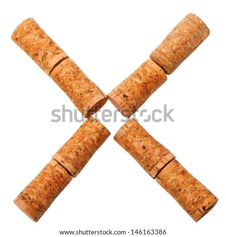 Letter X composed of wine corks. Isolated on white background - stock photo