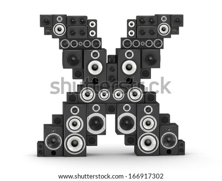 Letter X from black hi-fi speakers sound systems - stock photo
