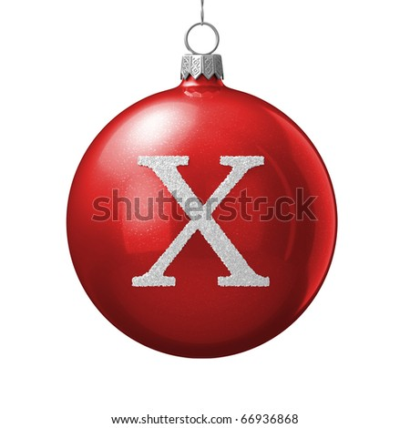 Letter X from cristmas ball alphabet. There is a clipping path - stock photo