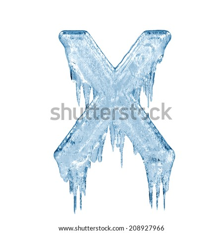 Letter X. Ice font isolated on white background. Alphabet. - stock photo