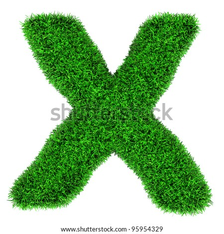 Letter X, made of grass isolated on white background. - stock photo