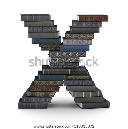 Letter X, stacked from many  books in pile - stock photo