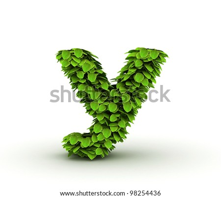 Letter y, alphabet of green leaves, small caps - stock photo