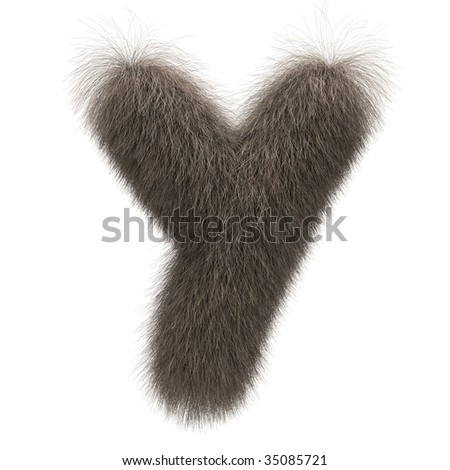 Letter Y from fur alphabet - stock photo