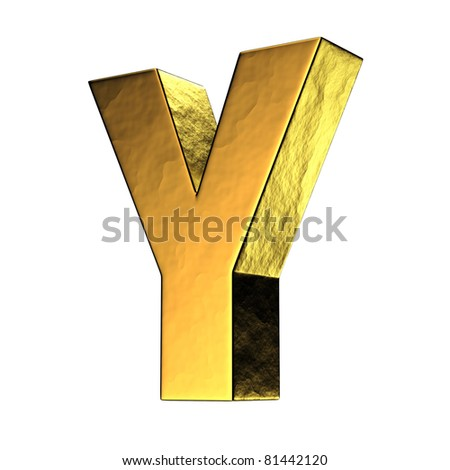 Letter Y from gold solid alphabet. There is a clipping path - stock photo