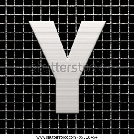 Letter Y from metal net alphabet. There is a clipping path - stock photo