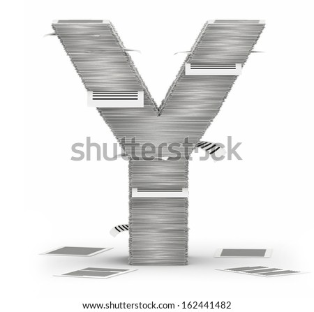 Letter Y, from stacks of paper pages font - stock photo