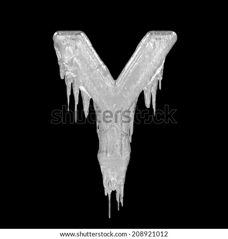 Letter Y. Ice font isolated on black background. Alphabet.