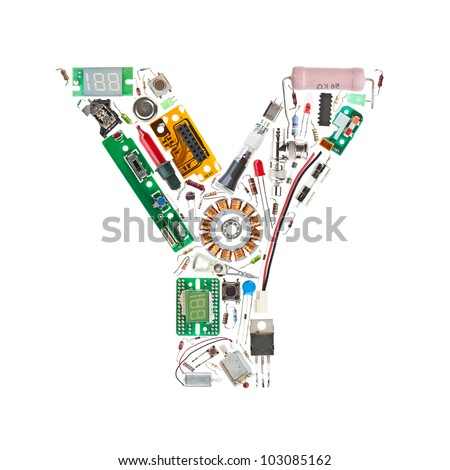 Letter y made electronic components isolated stock photo 103085162 letter y made of electronic components isolated in white background altavistaventures Images