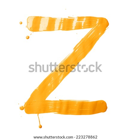 Letter Z character hand drawn with the oil paint brush strokes, isolated over the white background