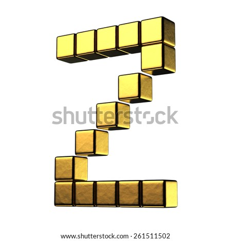 Letter Z from big cube gold perspective alphabet. There is a clipping path - stock photo