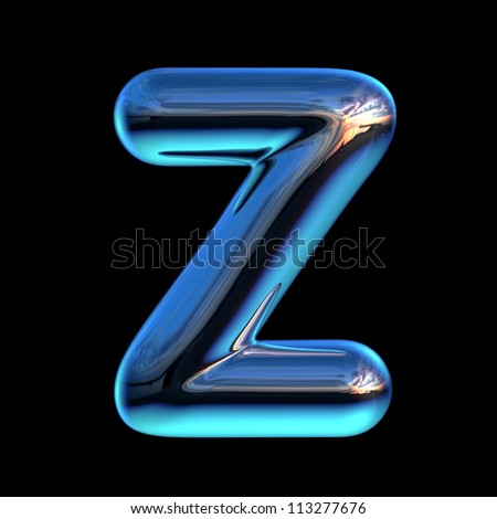 Letter Z from chrome blue sunset alphabet - stock photo