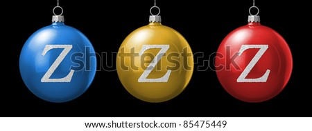 Letter Z from cristmas ball alphabet. There is a clipping path - stock photo
