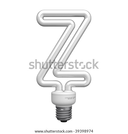 Letter Z from lamp alphabet. There is a clipping path