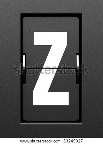 Letter Z from mechanical scoreboard alphabet - stock photo