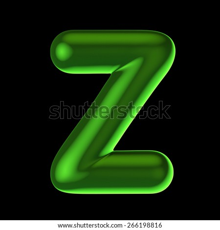 Letter Z from round green back light alphabet. There is a clipping path - stock photo