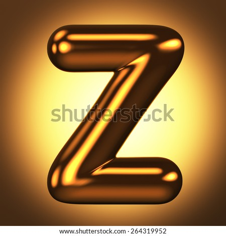 Letter Z from round pure gold alphabet. There is a clipping path. The background is presented as an example. It can be replaced - stock photo