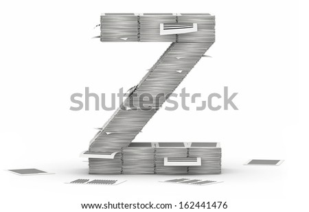 Letter Z, from stacks of paper pages font - stock photo