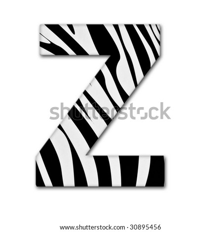 Letter Z from the alphabet. Made of animal print. It has a clipping path. - stock photo