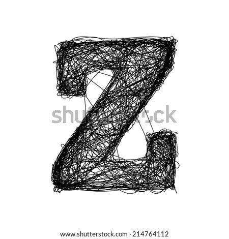 Letter Z. Hand drawn and sketched alphabet. Uppercase, numbers and all symbols included. - stock photo