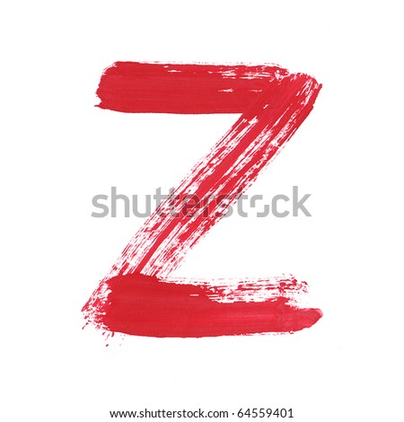 Letter Z handwritten paint stroke sketch. Red Isolated on white background. One from collection set.