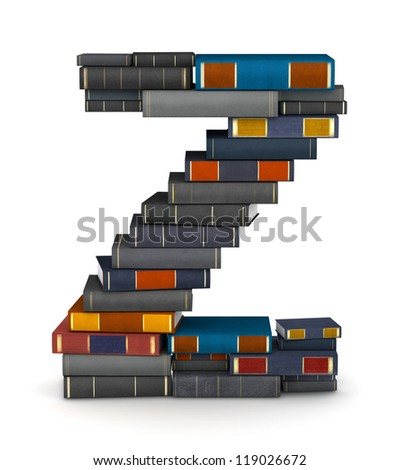 Letter Z, stacked from many encyclopedic books in pile - stock photo