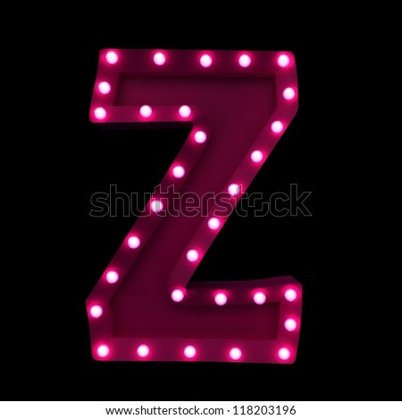letter Z with neon lights isolated on black background - stock photo