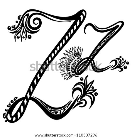 Letter Z z in the style of abstract floral pattern on a white background - stock photo