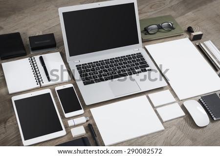 Letterhead and logo design mockup - stock photo