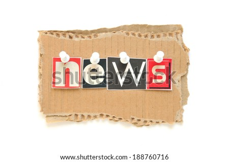 Lettering NEWS with newspaper letters on brown cardboard - stock photo