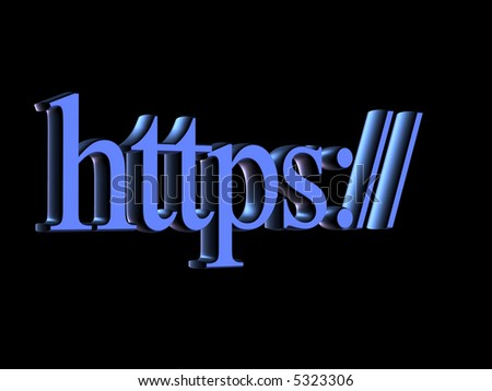 Lettering: secure computer protocol https - stock photo