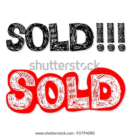 lettering sold, crazy doodle - stock photo