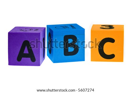 Letters A B C isolated on the white background - stock photo