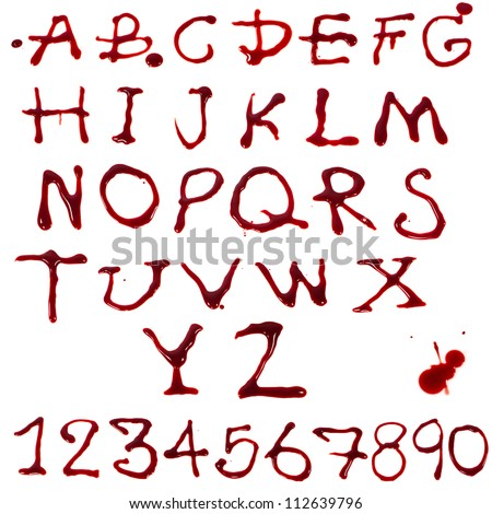 Letters A-Z and 1-10 dripping with blood on white background - stock photo