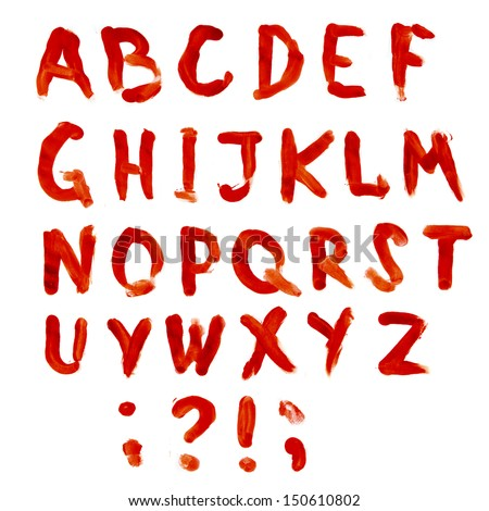 Letters A Z Dripping With Blood On White Background Bloodly Bloody Alphabet