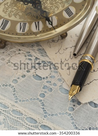 letters and pen in the vintage style - stock photo