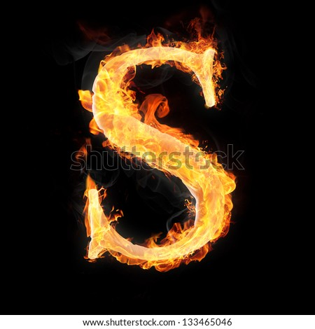 Letters and symbols in fire - Letter S. - stock photo