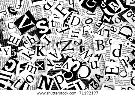 Line Art Letters : Letters cut newspaper background stock photo royalty free