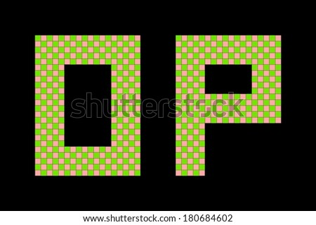 Letters o and p made from squares - stock photo