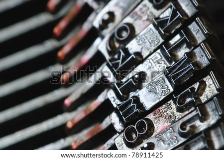 Letters of an old typewriter - stock photo