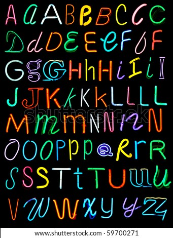 Letters of the alphabet made from neon signs - stock photo