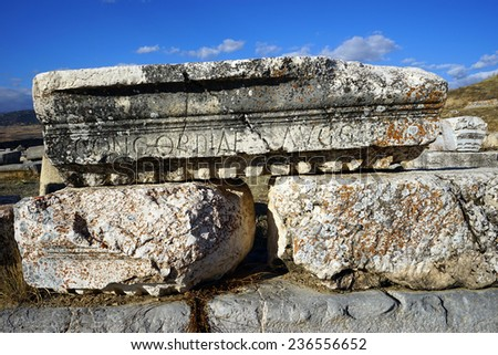 Letters on the detail of roman temple in Antiohia Pisidia, Turkey