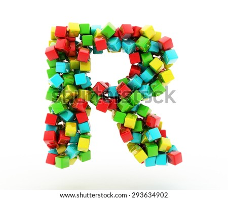 Letters R of colorful cube.