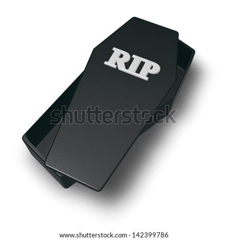 letters rip on black casket - 3d illustration - stock photo