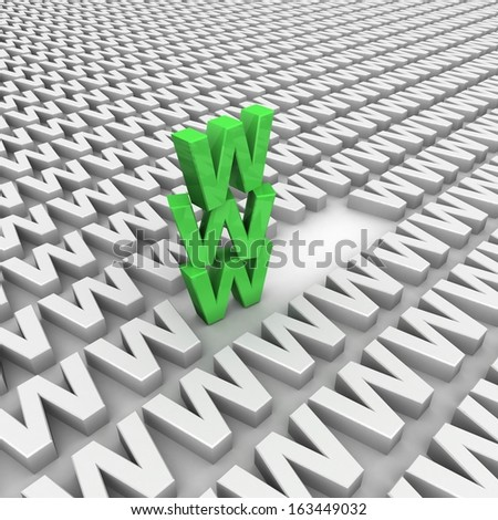 Letters WWW on background white letters , 3D rendering - stock photo
