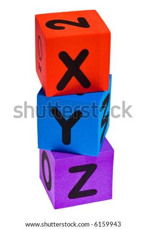Letters X Y Z isolated on the white background - stock photo