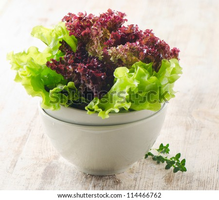 Lettuce salad  on a wooden table - stock photo