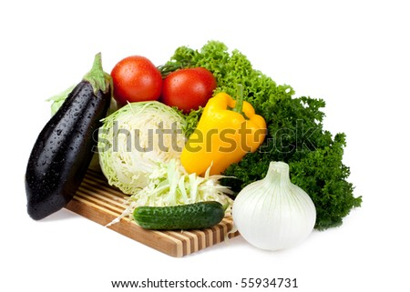 lettuce set on white background - stock photo