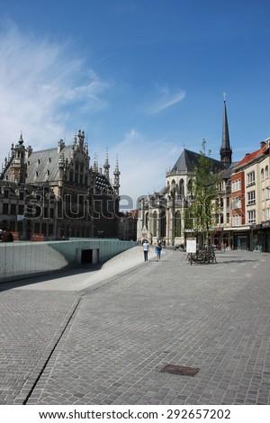 LEUVEN, BELGIUM- MAY 19, 2013: View on the old town of Leuven, Belgium.  - stock photo
