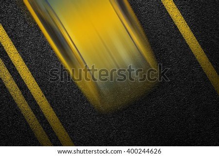 Level asphalted road with a dividing yellow stripes and moving with at high speed the vehicle cab. The texture of the tarmac, top view. - stock photo
